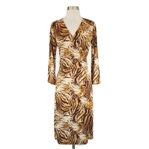 Jones NY Brown Animal Print Stretch Jersey Dress M